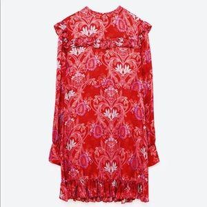 ZARA JACQUARD MINI SILK DRESS